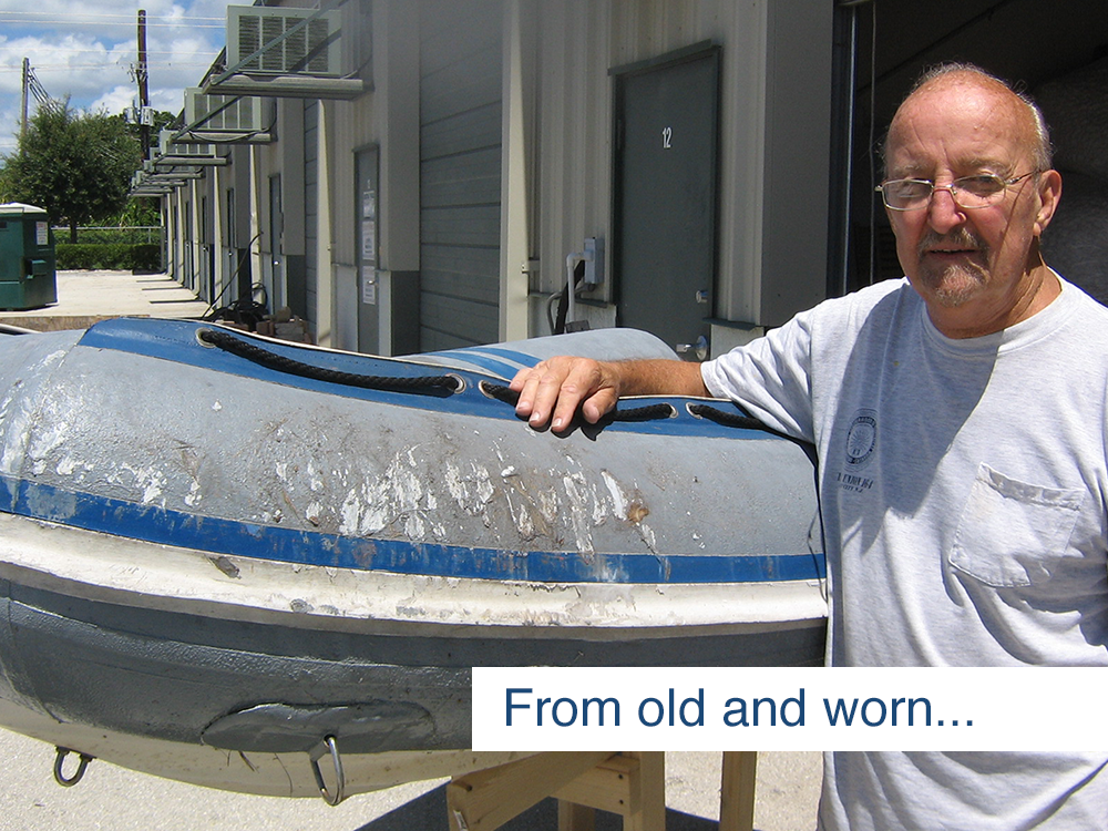 warehouse worker posing with inflatable boat before it was restored using inland marine inflatable boat repair products