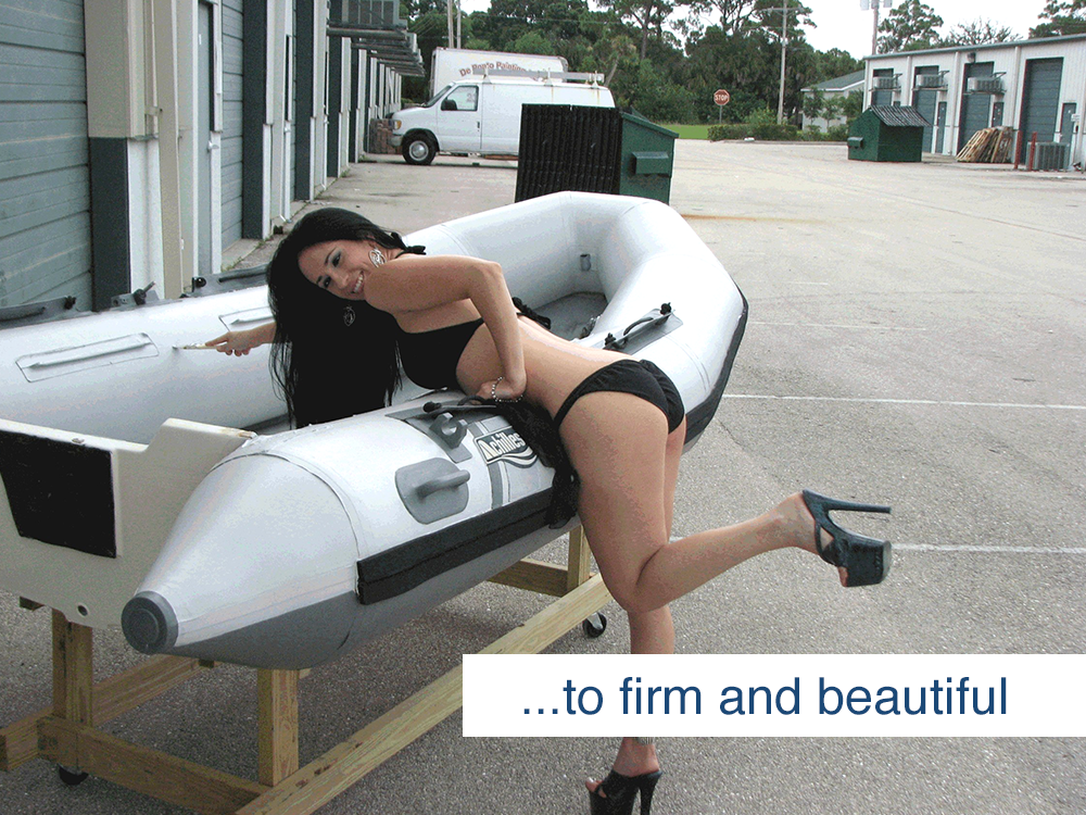 woman posing with inflatable boat restored with inland marine inflatable boat repair products
