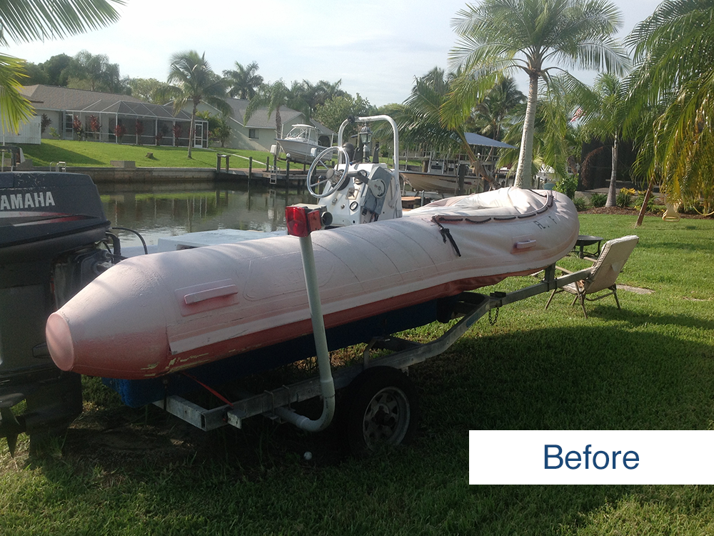 image submitted by customer of inflatable boat before being restored using inland marine inflatable boat repair products
