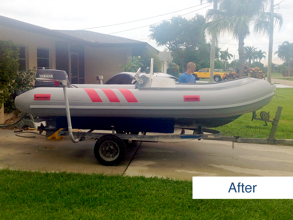 image submitted by customer of inflatable boat restored using inland marine inflatable boat repair products