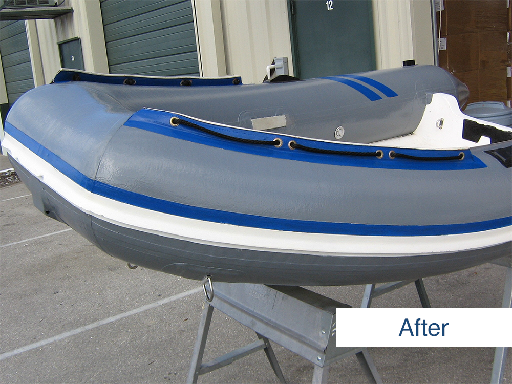 inflatable boat restored to like-new condition using inland marine inflatable boat repair products