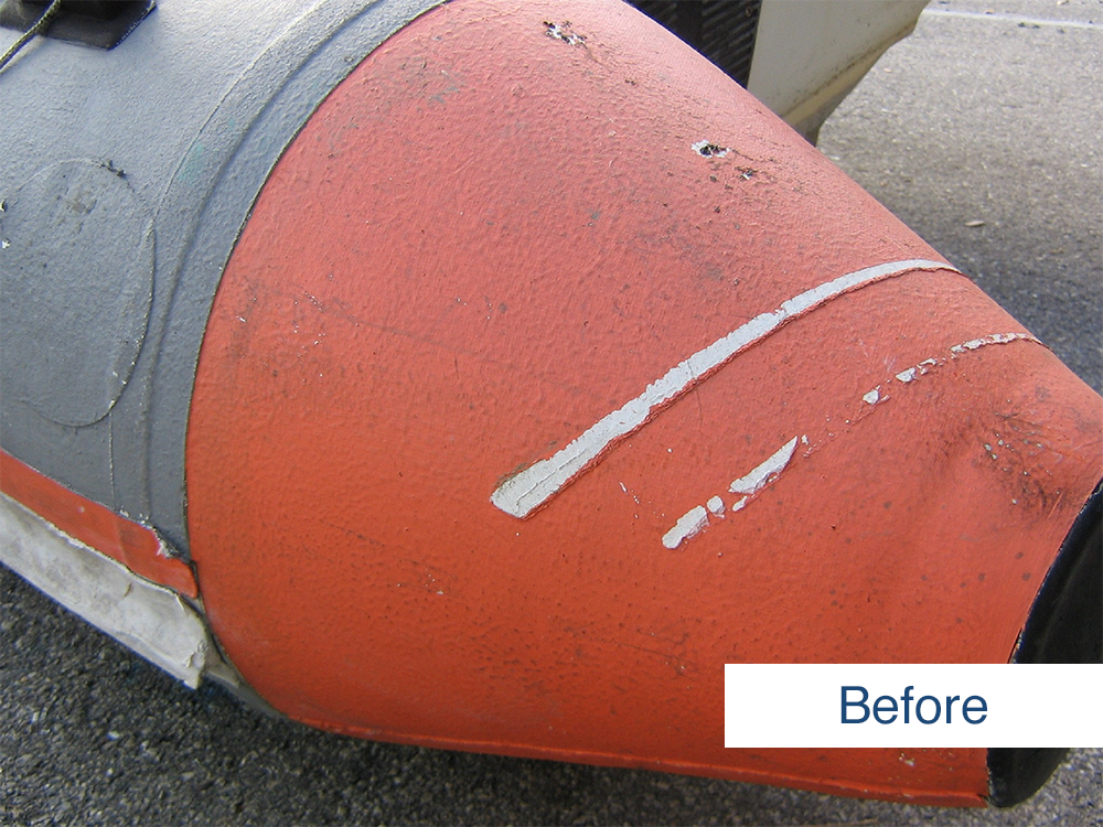 after photo of the stern of inflatable boat before restoration using inland marine inflatable boat repair products