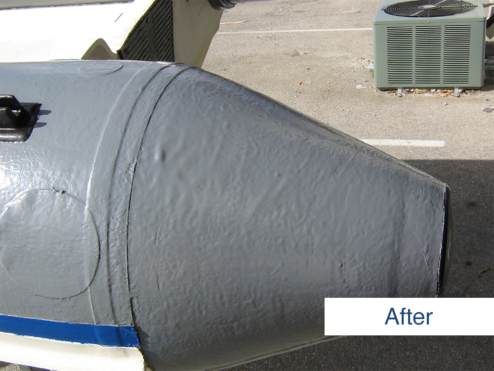after photo of the stern of inflatable boat after restoration using inland marine inflatable boat repair products